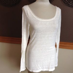 ANTHROPOLOGIE pure + good ivory tissue tee M L